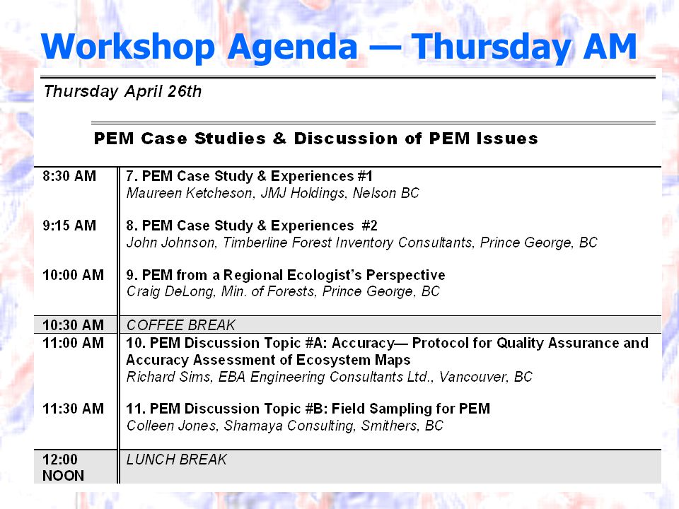 Workshop Agenda — Thursday AM
