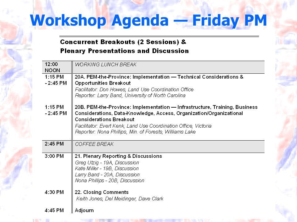 Workshop Agenda — Friday PM