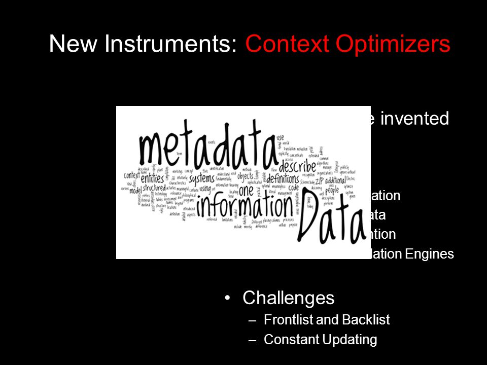 New Instruments: Context Optimizers Tools: Yet to be invented Uses –Metadata Optimization –Enhanced Metadata –Browsing Reinvention –New Recommendation Engines Challenges –Frontlist and Backlist –Constant Updating