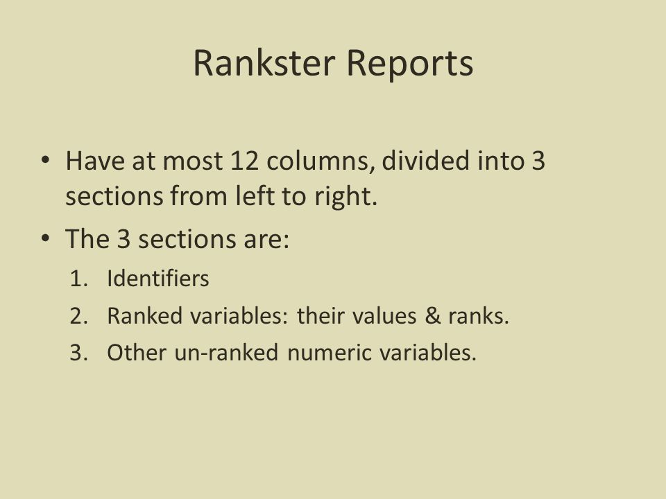 Rankster Query Form What you see when you invoke the app.
