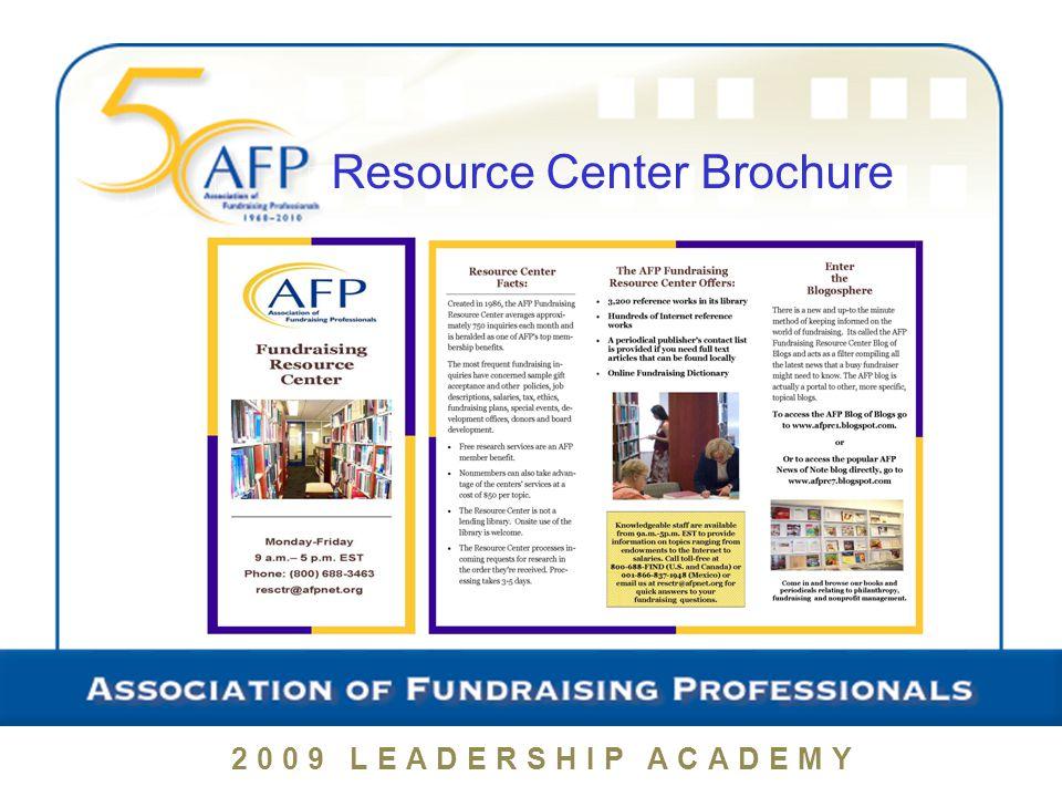 2009 LEADERSHIP ACADEMY Resource Center Brochure
