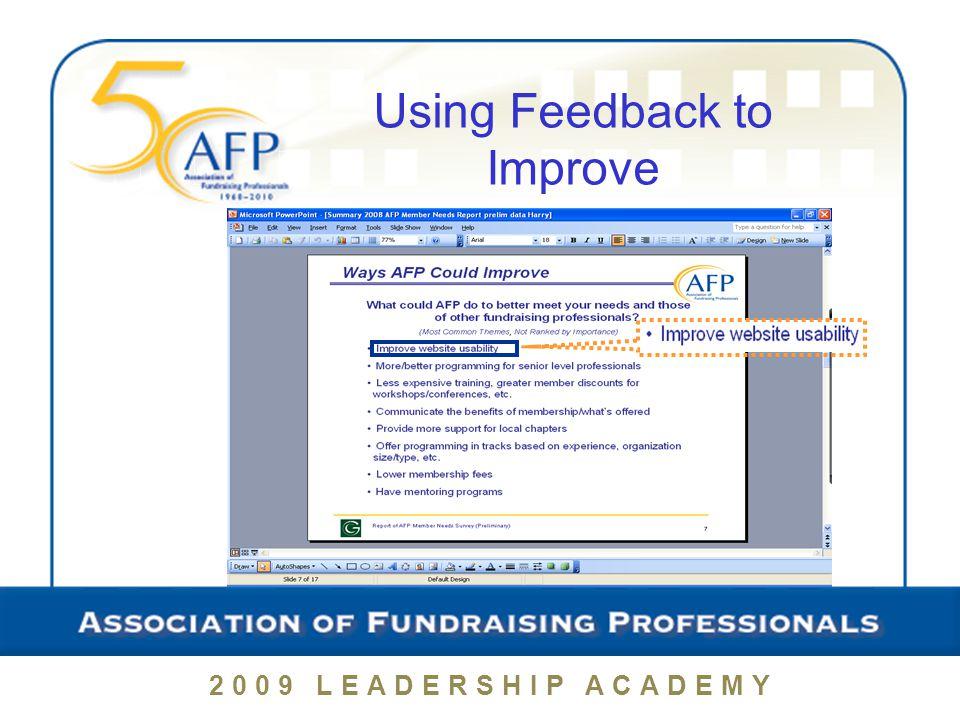 Using Feedback to Improve 2009 LEADERSHIP ACADEMY
