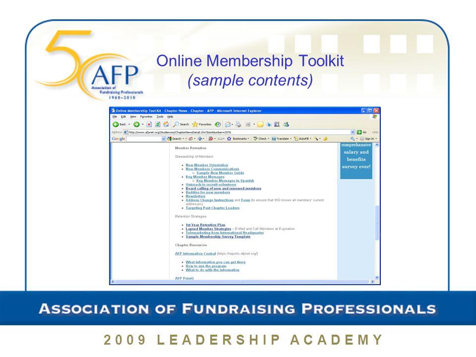 2009 LEADERSHIP ACADEMY Online Membership Toolkit (sample contents)