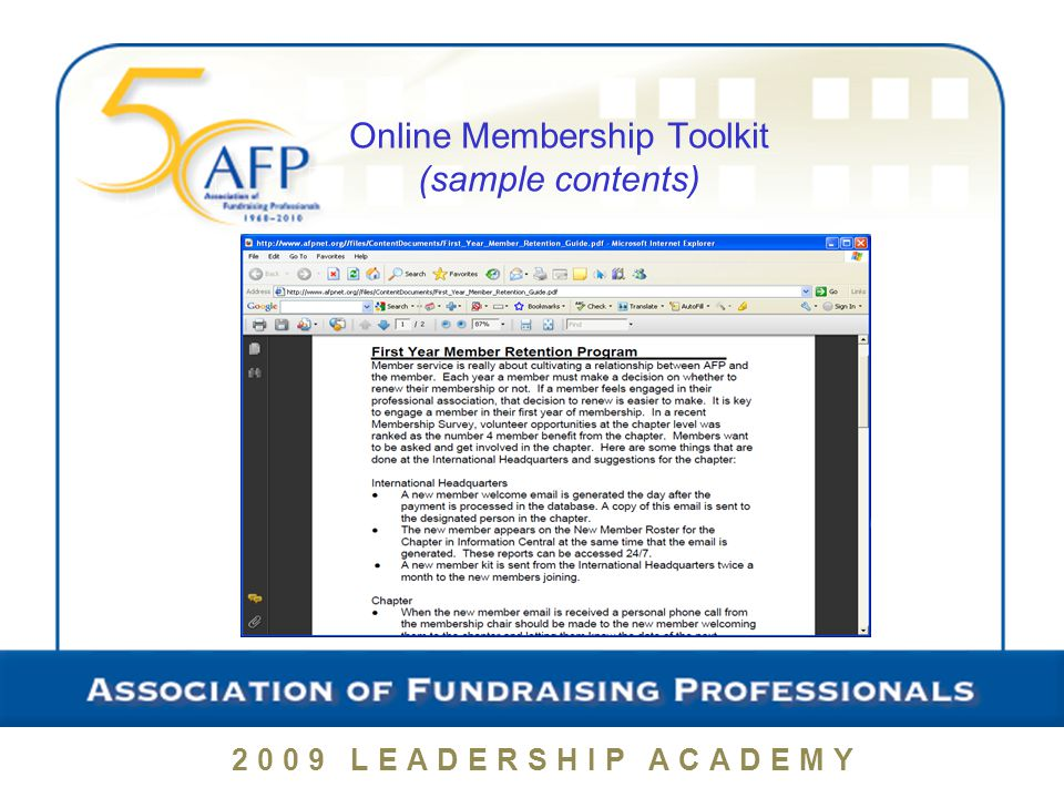2009 LEADERSHIP ACADEMY Chapter Membership Recruitment and Retention Plans