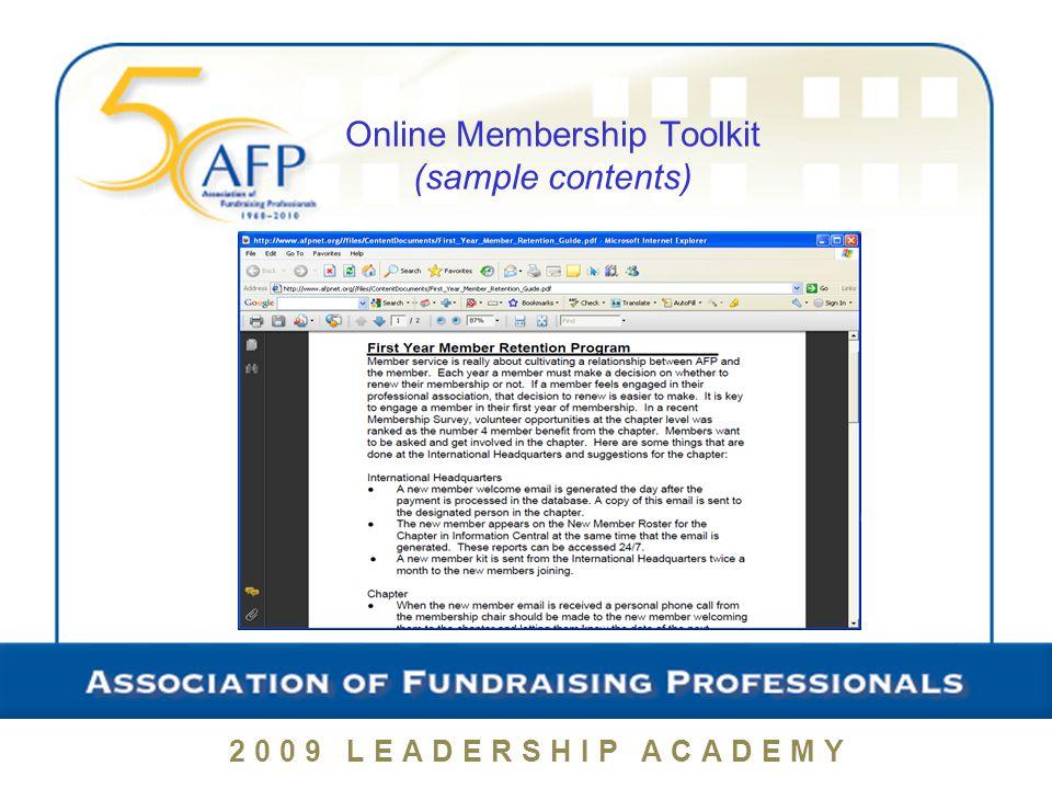 Provide Volunteering Opportunities 2009 LEADERSHIP ACADEMY