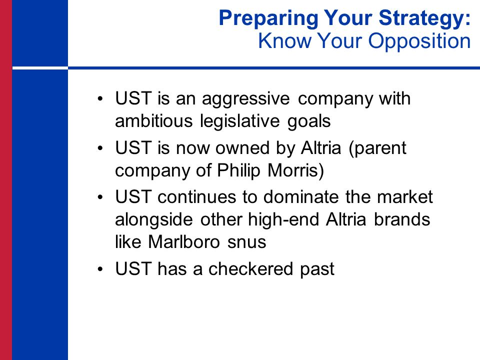 Preparing Your Strategy: Know Your Opposition UST is an aggressive company with ambitious legislative goals UST is now owned by Altria (parent company