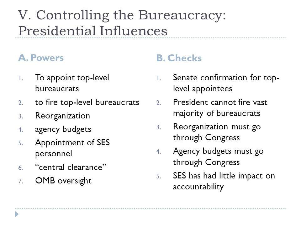 V. Controlling the Bureaucracy: Presidential Influences A.
