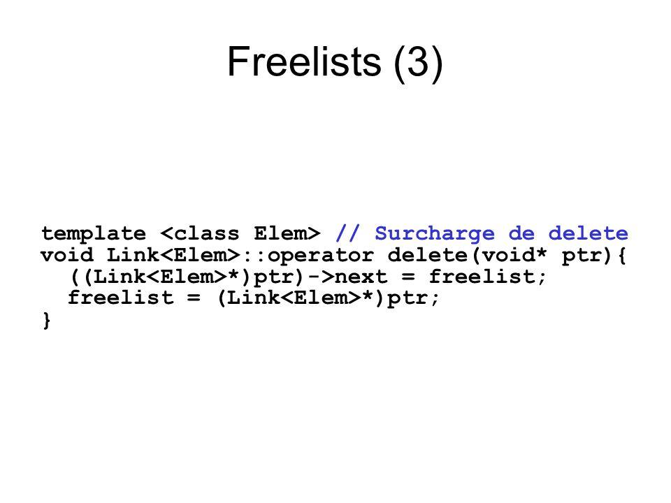 Freelists (3) template // Surcharge de delete void Link ::operator delete(void* ptr){ ((Link *)ptr)->next = freelist; freelist = (Link *)ptr; }