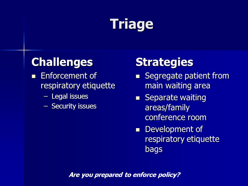 Triage Challenges Enforcement of respiratory etiquette Enforcement of respiratory etiquette –Legal issues –Security issues Strategies Segregate patient from main waiting area Segregate patient from main waiting area Separate waiting areas/family conference room Separate waiting areas/family conference room Development of respiratory etiquette bags Development of respiratory etiquette bags Are you prepared to enforce policy