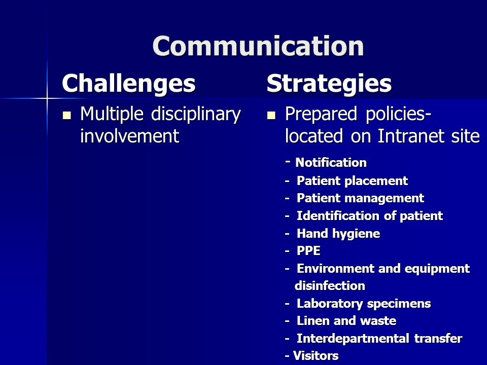Communication Challenges Multiple disciplinary involvement Multiple disciplinary involvementStrategies Prepared policies- located on Intranet site Prepared policies- located on Intranet site - Notification - Patient placement - Patient management - Identification of patient - Hand hygiene - PPE - Environment and equipment disinfection disinfection - Laboratory specimens - Linen and waste - Interdepartmental transfer - Visitors