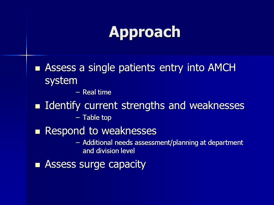 Approach Assess a single patients entry into AMCH system Assess a single patients entry into AMCH system –Real time Identify current strengths and weaknesses Identify current strengths and weaknesses –Table top Respond to weaknesses Respond to weaknesses –Additional needs assessment/planning at department and division level Assess surge capacity Assess surge capacity