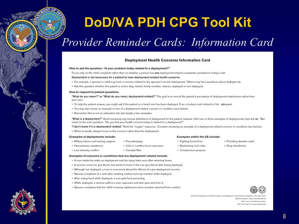 8 DoD/VA PDH CPG Tool Kit Provider Reminder Cards: Information Card