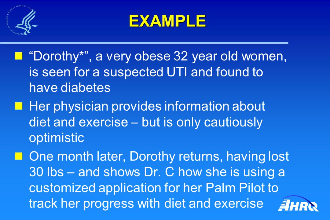 """EXAMPLE """"Dorothy*"""", a very obese 32 year old women, is seen for a suspected UTI and found to have diabetes Her physician provides information about di"""