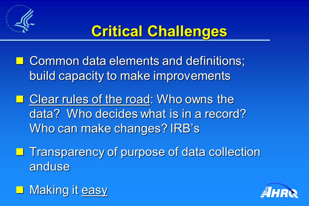 Critical Challenges Common data elements and definitions; build capacity to make improvements Common data elements and definitions; build capacity to
