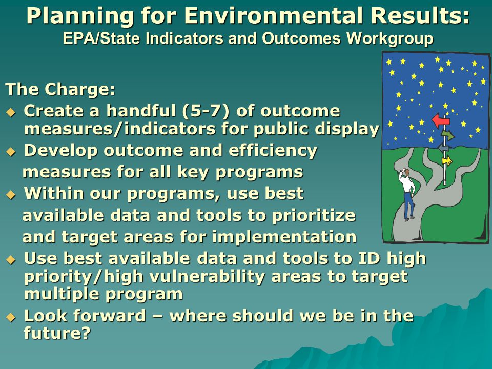 Planning for Environmental Results: EPA/State Indicators and Outcomes Workgroup The Charge:  Create a handful (5-7) of outcome measures/indicators for public display  Develop outcome and efficiency measures for all key programs measures for all key programs  Within our programs, use best available data and tools to prioritize available data and tools to prioritize and target areas for implementation and target areas for implementation  Use best available data and tools to ID high priority/high vulnerability areas to target multiple program  Look forward – where should we be in the future