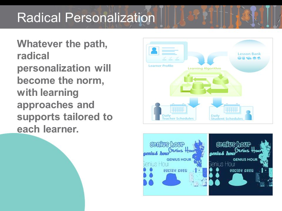Radical Personalization Whatever the path, radical personalization will become the norm, with learning approaches and supports tailored to each learner.