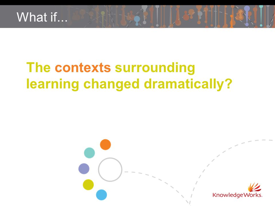 What if... The contexts surrounding learning changed dramatically?