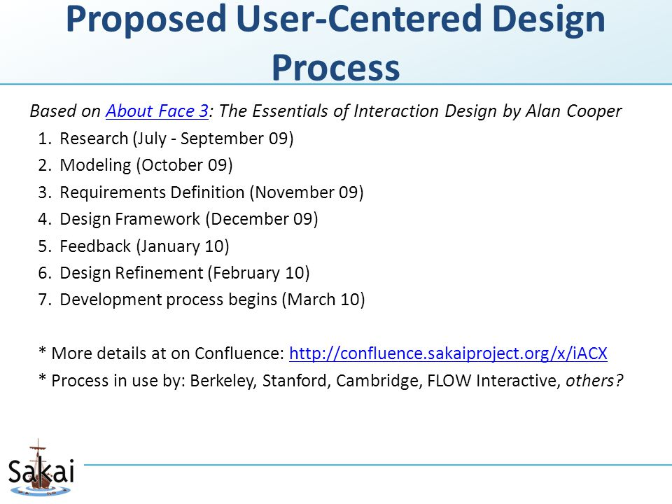 Proposed User-Centered Design Process Based on About Face 3: The Essentials of Interaction Design by Alan CooperAbout Face 3 1.Research (July - September 09) 2.Modeling (October 09) 3.Requirements Definition (November 09) 4.Design Framework (December 09) 5.Feedback (January 10) 6.Design Refinement (February 10) 7.Development process begins (March 10) * More details at on Confluence: http://confluence.sakaiproject.org/x/iACXhttp://confluence.sakaiproject.org/x/iACX * Process in use by: Berkeley, Stanford, Cambridge, FLOW Interactive, others