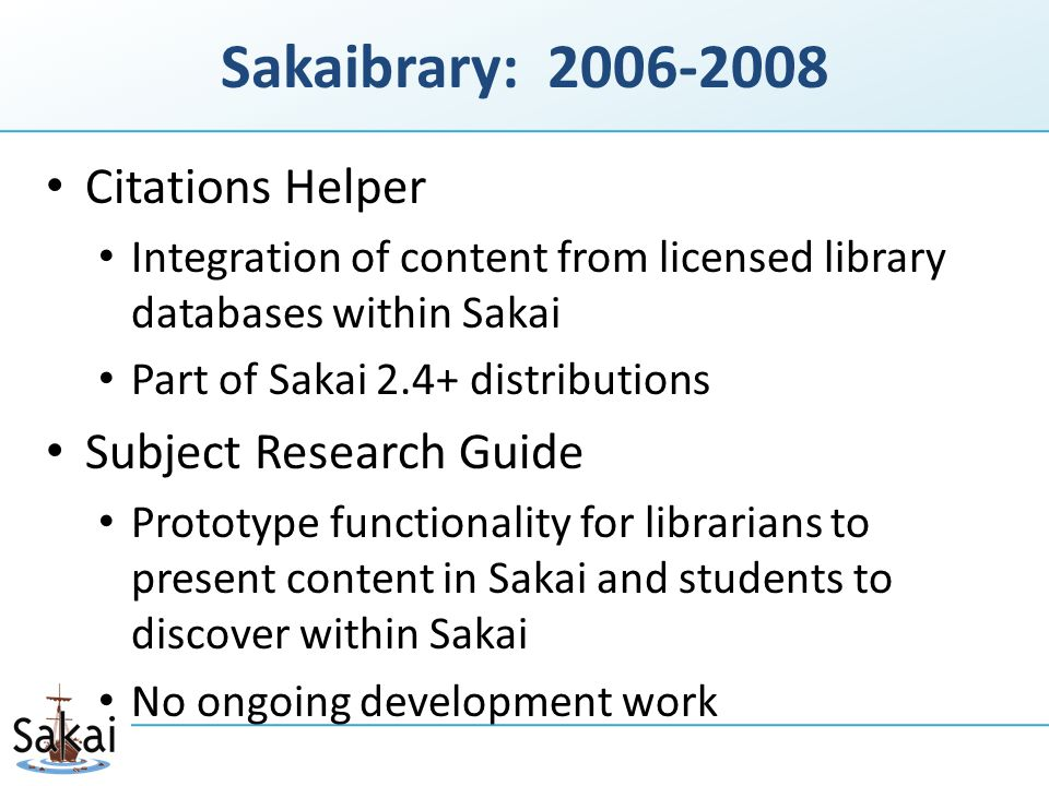 The Library Resources widget allows Allison to: quickly find content relevant to her assess the effectiveness of scholarly material based on the collective wisdom of the scholarly community add library content from anywhere on the web Based on preliminary user- centered design, more details at: http://confluence.sakaiproject.org/x/iAC X