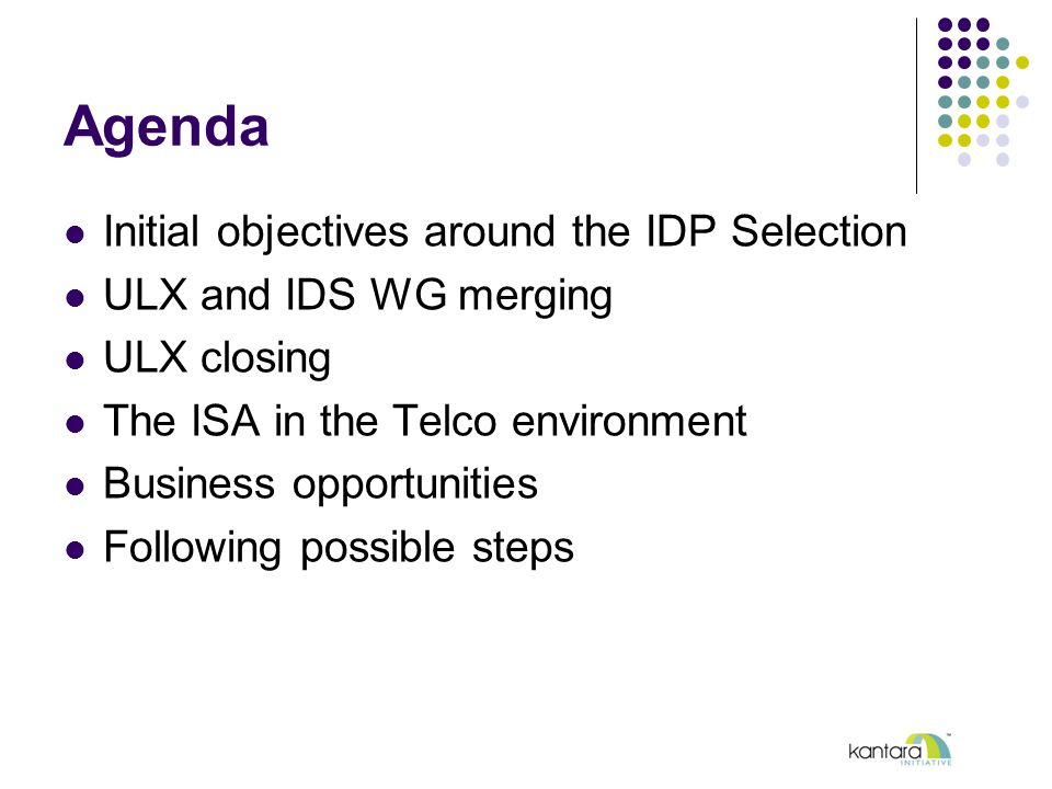 Agenda Initial objectives around the IDP Selection ULX and IDS WG merging ULX closing The ISA in the Telco environment Business opportunities Following possible steps