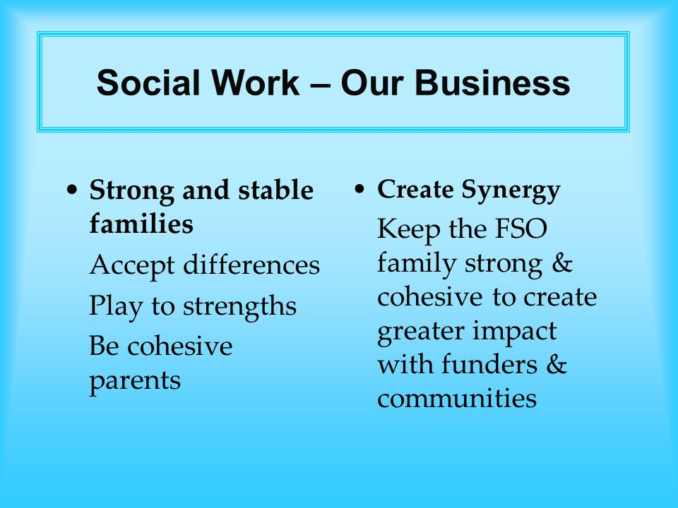 Strong and stable families Accept differences Play to strengths Be cohesive parents Create Synergy Keep the FSO family strong & cohesive to create greater impact with funders & communities Social Work – Our Business