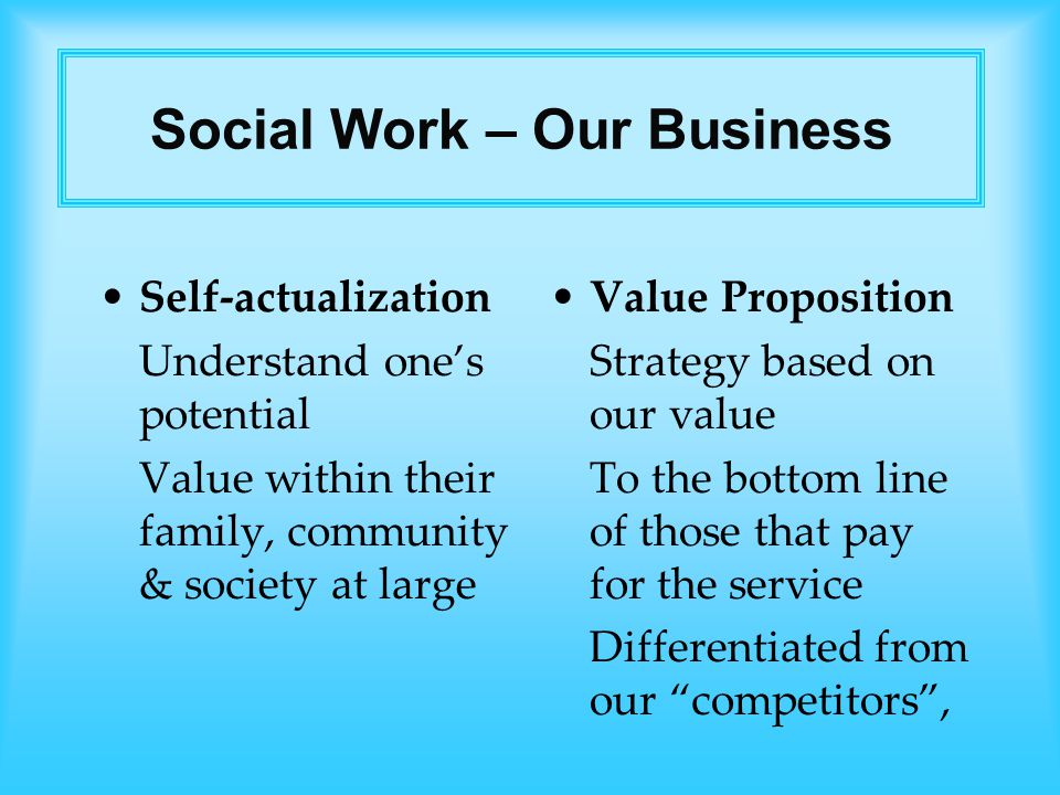 Self-actualization Understand one's potential Value within their family, community & society at large Value Proposition Strategy based on our value To the bottom line of those that pay for the service Differentiated from our competitors , Social Work – Our Business
