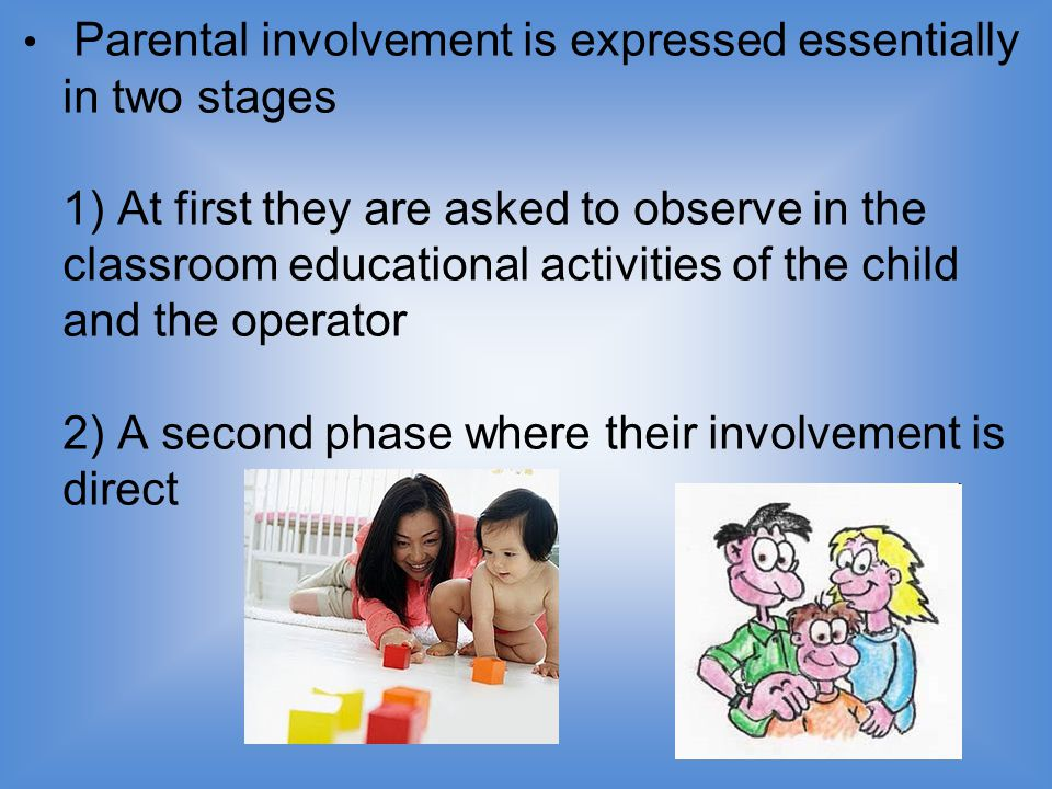 Parental involvement is expressed essentially in two stages 1) At first they are asked to observe in the classroom educational activities of the child and the operator 2) A second phase where their involvement is direct