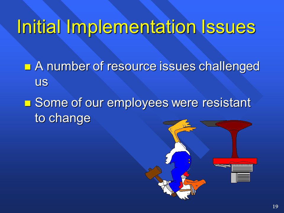 19 Initial Implementation Issues n A number of resource issues challenged us n Some of our employees were resistant to change