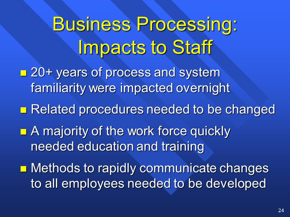 24 Business Processing: Impacts to Staff n 20+ years of process and system familiarity were impacted overnight n Related procedures needed to be changed n A majority of the work force quickly needed education and training n Methods to rapidly communicate changes to all employees needed to be developed