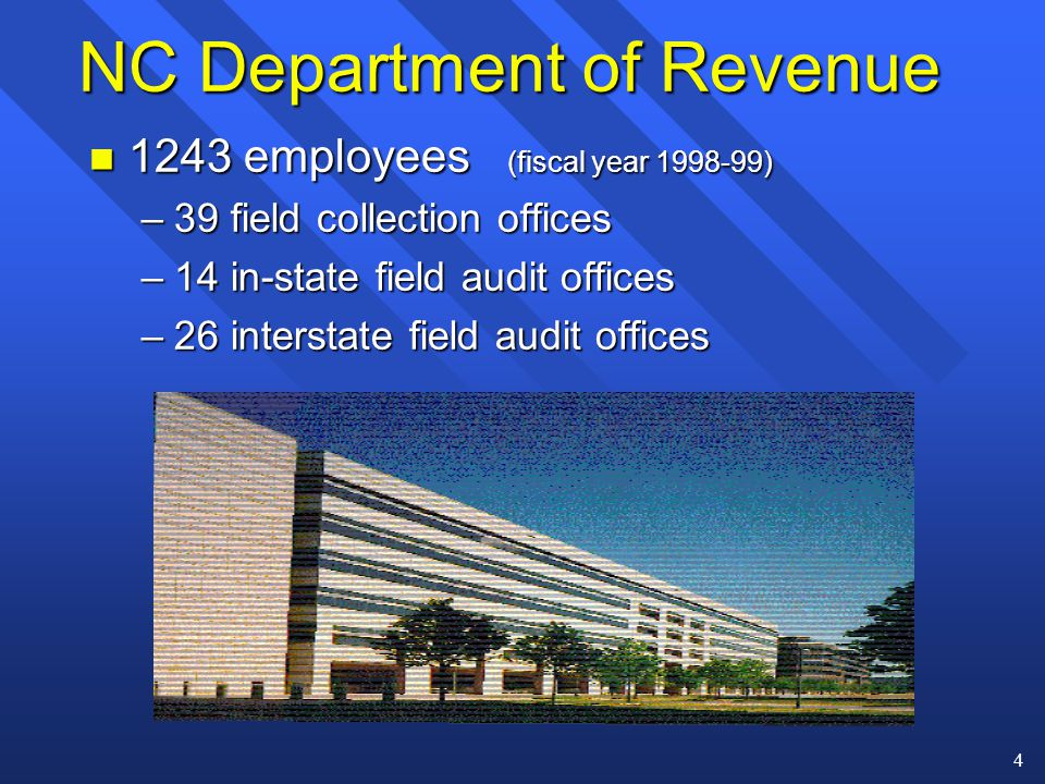 4 NC Department of Revenue n 1243 employees (fiscal year 1998-99) –39 field collection offices –14 in-state field audit offices –26 interstate field audit offices