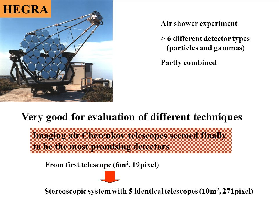 Air shower experiment > 6 different detector types (particles and gammas) Imaging air Cherenkov telescopes seemed finally to be the most promising detectors Partly combined Very good for evaluation of different techniques From first telescope (6m 2, 19pixel) Stereoscopic system with 5 identical telescopes (10m 2, 271pixel)