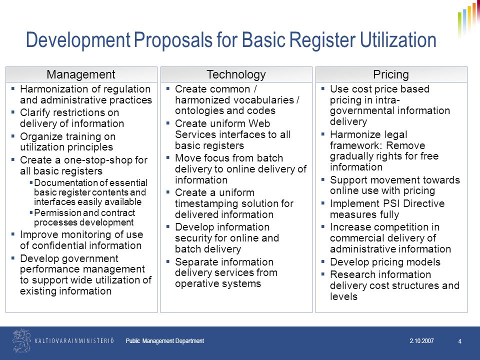 2.10.2007 Public Management Department 2.10.2007 4 Development Proposals for Basic Register Utilization  Harmonization of regulation and administrative practices  Clarify restrictions on delivery of information  Organize training on utilization principles  Create a one-stop-shop for all basic registers  Documentation of essential basic register contents and interfaces easily available  Permission and contract processes development  Improve monitoring of use of confidential information  Develop government performance management to support wide utilization of existing information  Use cost price based pricing in intra- governmental information delivery  Harmonize legal framework: Remove gradually rights for free information  Support movement towards online use with pricing  Implement PSI Directive measures fully  Increase competition in commercial delivery of administrative information  Develop pricing models  Research information delivery cost structures and levels  Create common / harmonized vocabularies / ontologies and codes  Create uniform Web Services interfaces to all basic registers  Move focus from batch delivery to online delivery of information  Create a uniform timestamping solution for delivered information  Develop information security for online and batch delivery  Separate information delivery services from operative systems ManagementTechnologyPricing