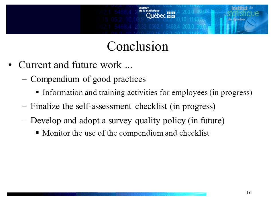 16 Conclusion Current and future work...