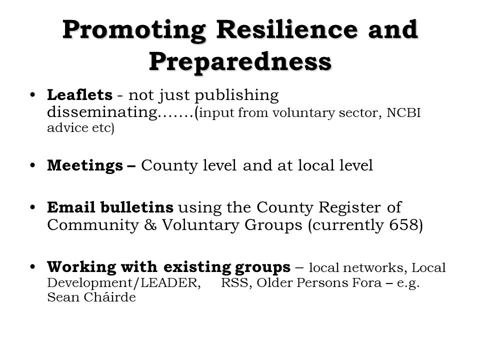 Promoting Resilience and Preparedness Leaflets - not just publishing disseminating…….( input from voluntary sector, NCBI advice etc) Meetings – County level and at local level Email bulletins using the County Register of Community & Voluntary Groups (currently 658) Working with existing groups – local networks, Local Development/LEADER,RSS, Older Persons Fora – e.g.
