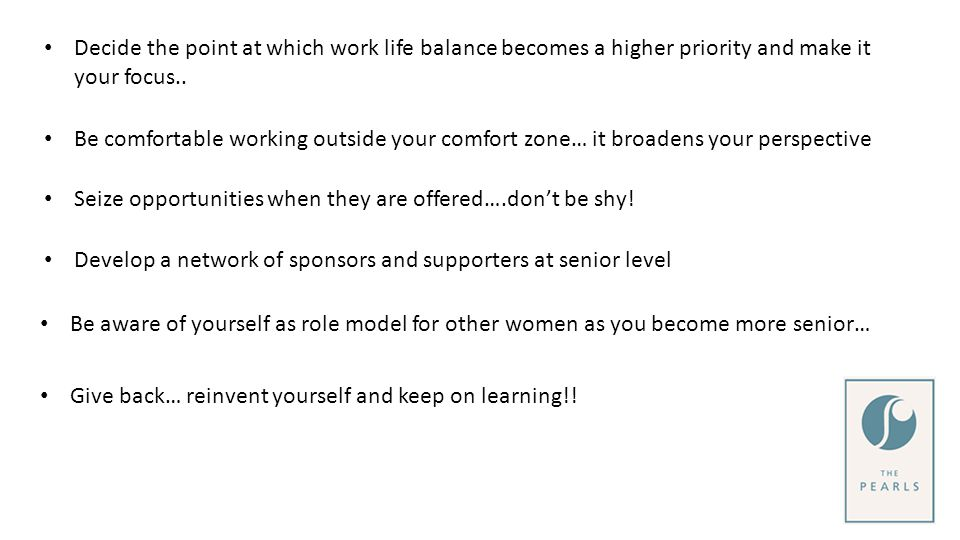 Decide the point at which work life balance becomes a higher priority and make it your focus..