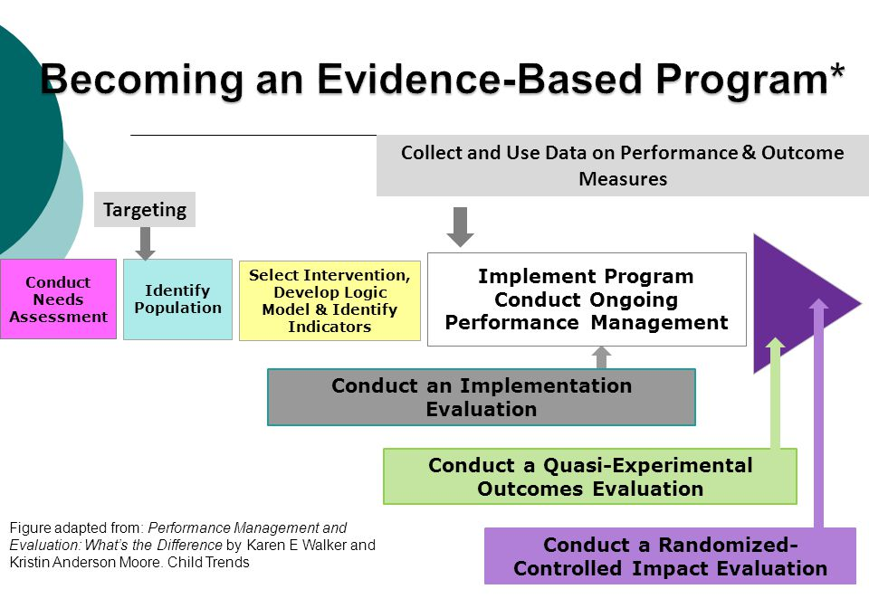 Collect and Use Data on Performance & Outcome Measures Conduct Needs Assessment Identify Population Targeting Conduct a Quasi-Experimental Outcomes Ev
