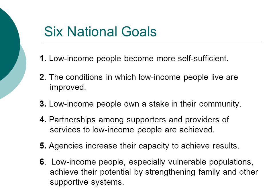 Six National Goals 1. Low-income people become more self-sufficient. 2. The conditions in which low-income people live are improved. 3. Low-income peo