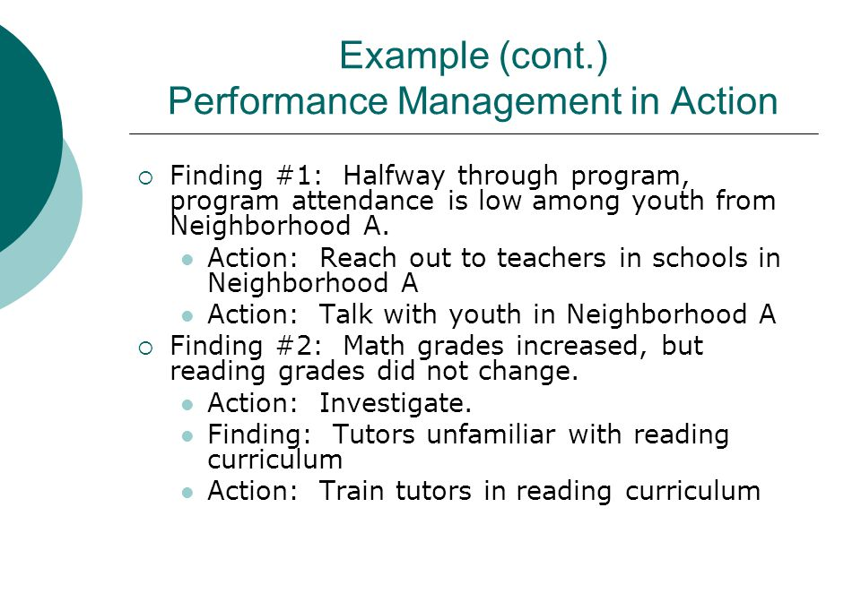 Example (cont.) Performance Management in Action  Finding #1: Halfway through program, program attendance is low among youth from Neighborhood A.