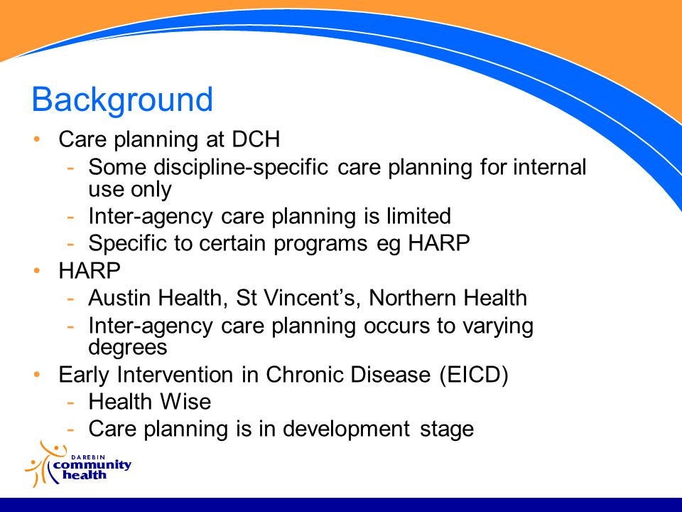 Background Care planning at DCH -Some discipline-specific care planning for internal use only -Inter-agency care planning is limited -Specific to certain programs eg HARP HARP -Austin Health, St Vincent's, Northern Health -Inter-agency care planning occurs to varying degrees Early Intervention in Chronic Disease (EICD) -Health Wise -Care planning is in development stage