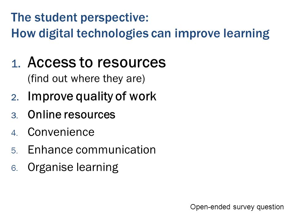 The student perspective: How digital technologies can improve learning 1.