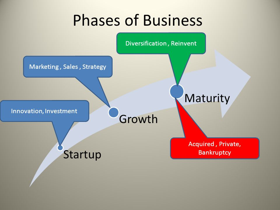 Phases of Business Startup Growth Maturity Innovation, Investment Marketing, Sales, Strategy Diversification, Reinvent Acquired, Private, Bankruptcy