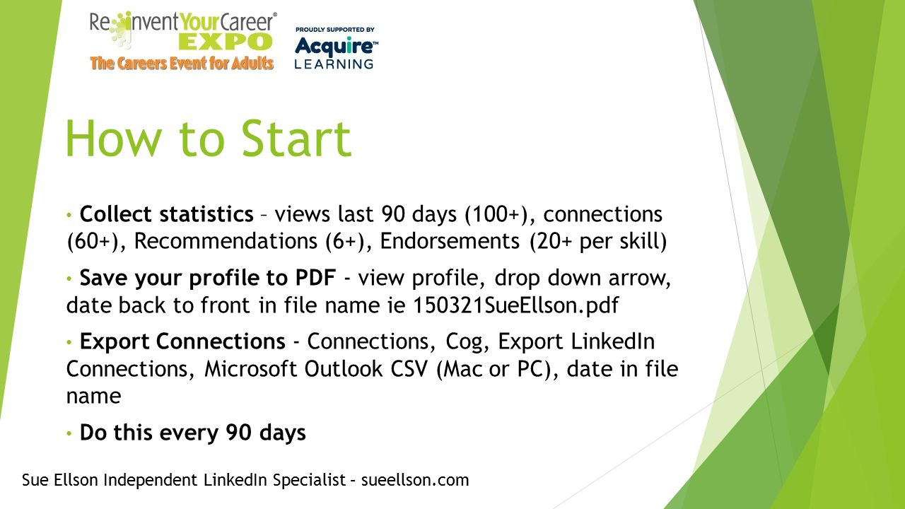 How to Start Collect statistics – views last 90 days (100+), connections (60+), Recommendations (6+), Endorsements (20+ per skill) Save your profile to PDF - view profile, drop down arrow, date back to front in file name ie 150321SueEllson.pdf Export Connections - Connections, Cog, Export LinkedIn Connections, Microsoft Outlook CSV (Mac or PC), date in file name Do this every 90 days Sue Ellson Independent LinkedIn Specialist – sueellson.com