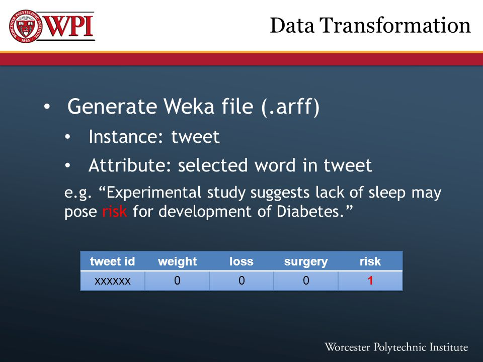 "Generate Weka file (.arff) Instance: tweet Attribute: selected word in tweet e.g. ""Experimental study suggests lack of sleep may pose risk for develop"