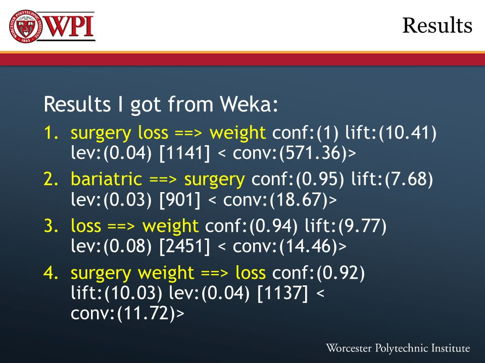 Results I got from Weka: 1.surgery loss ==> weight conf:(1) lift:(10.41) lev:(0.04) [1141] 2.bariatric ==> surgery conf:(0.95) lift:(7.68) lev:(0.03)