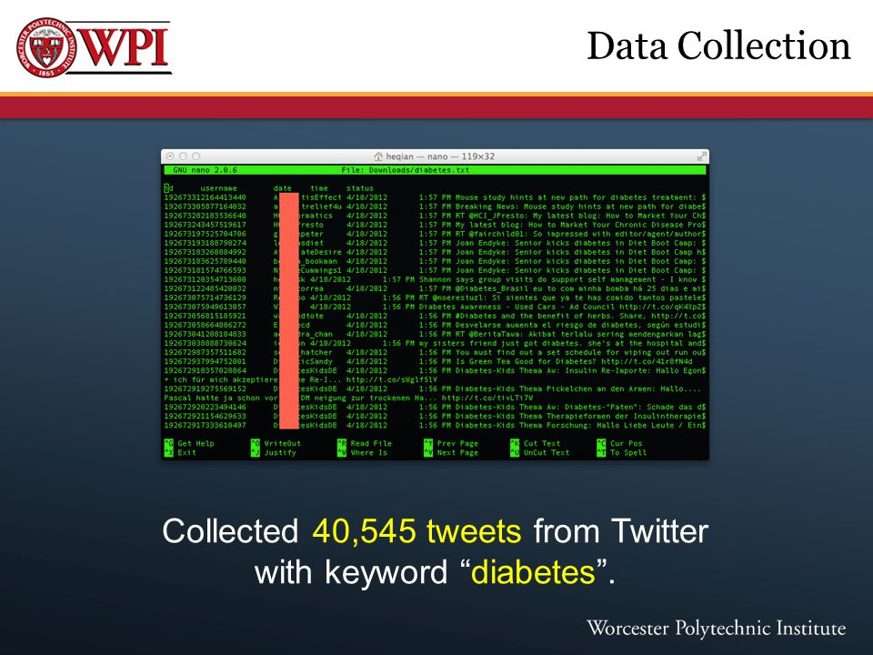 "Data Collection Collected 40,545 tweets from Twitter with keyword ""diabetes""."