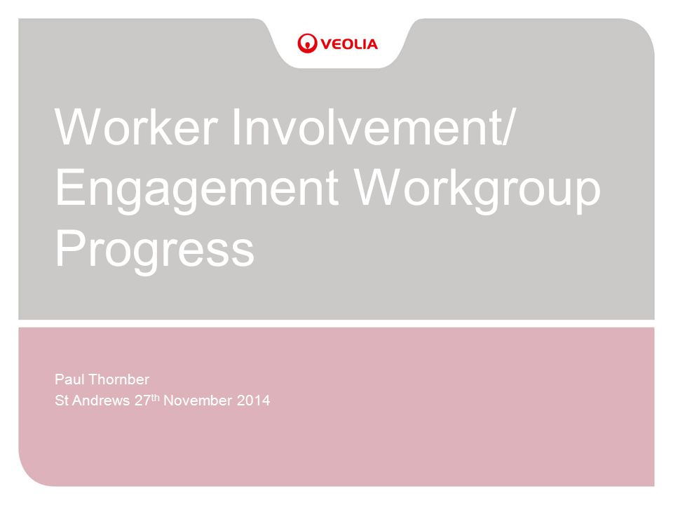 Worker Involvement/ Engagement Workgroup Progress Paul Thornber St Andrews 27 th November 2014