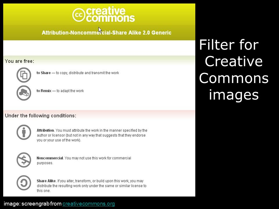 Filter for Creative Commons images image: screengrab from creativecommons.orgcreativecommons.org