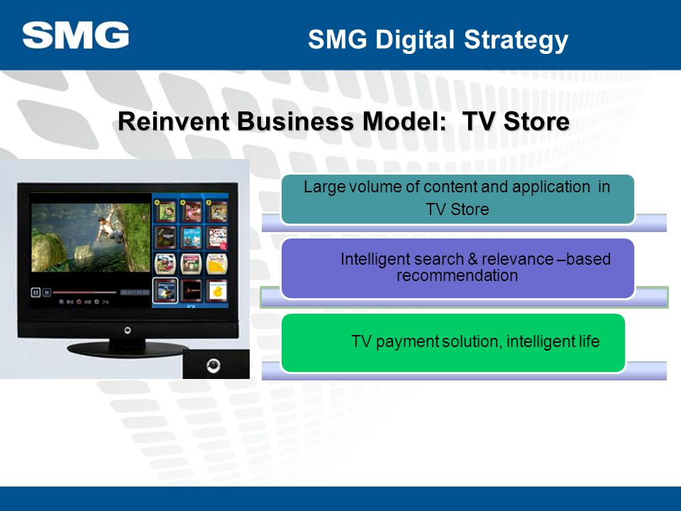 Reinvent Business Model: TV Store Large volume of content and application in TV Store Intelligent search & relevance –based recommendation TV payment