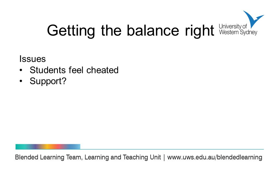 Issues Students feel cheated Support Getting the balance right