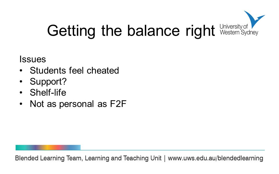 Issues Students feel cheated Support Shelf-life Not as personal as F2F Getting the balance right
